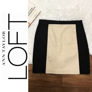 Ann Taylor LOFT Black & Cream Lined Skirt